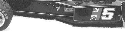 Detalle de la escobilla que recorre todo el lateral entre ejes del Lotus 77 de 1976.