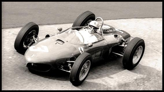 """Phil Hill con su Ferrari 156 """"shark nose"""""""