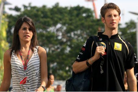 Grosjean y su esposa Marion Jollés