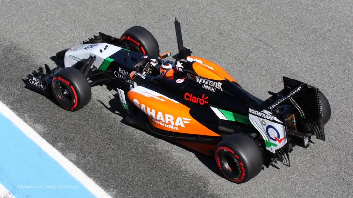 """""""Hulk"""" y su Force India """"27"""" en los test de pretemporada"""