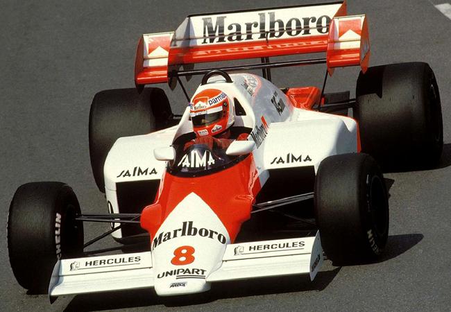 "Niki Lauda y su McLaren ""8"", campeones mundiales 1984"